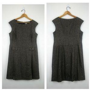 Ann Taylor Herringbone Sheath Dress Gray/Brown 12P